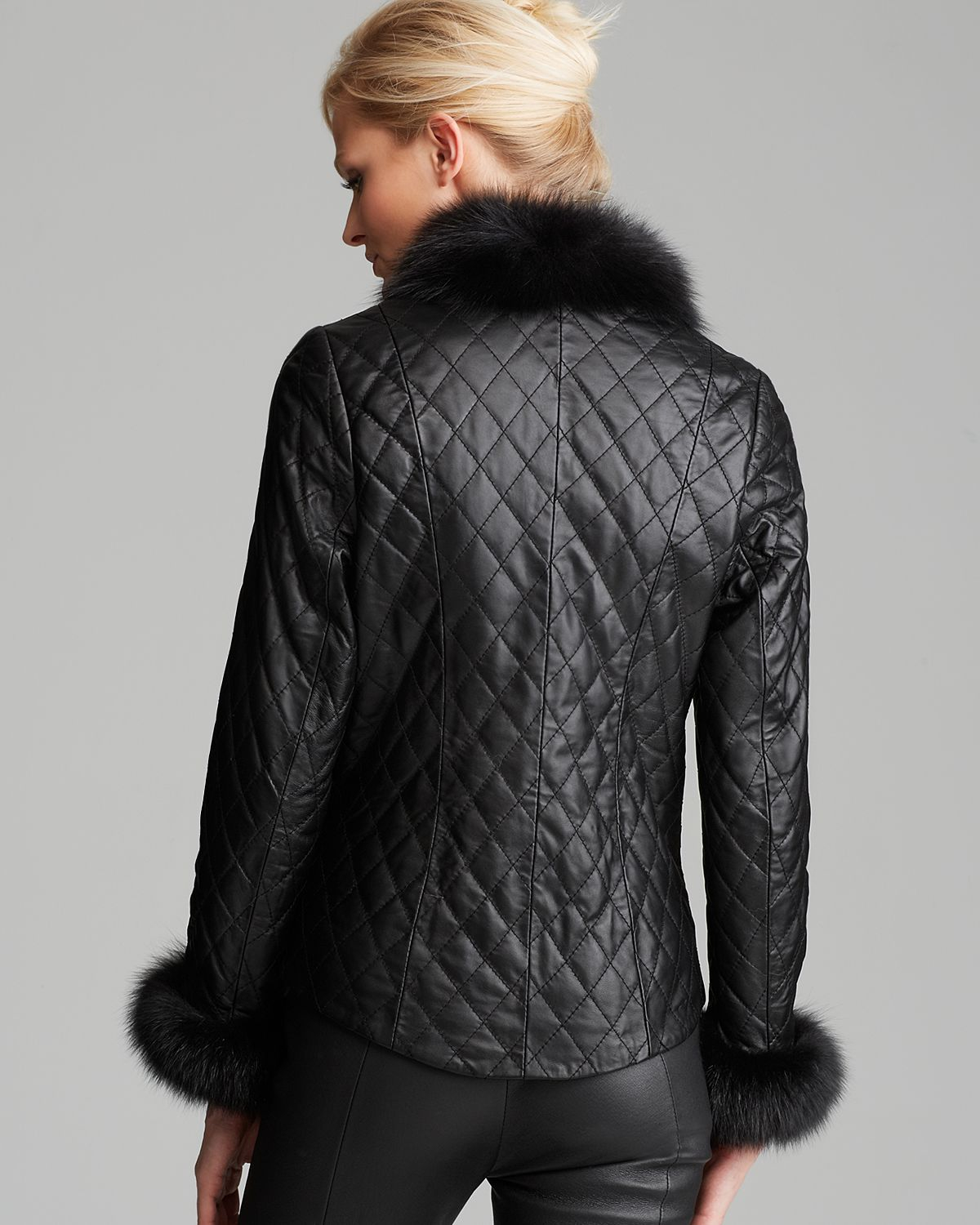 Maximilian Maximilian Quilted Leather Jacket With Fox Trim