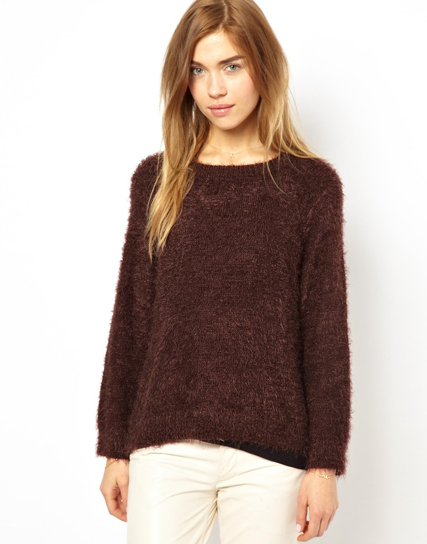 Ganni Fluffy Knitted Sweater in Brown | Lyst