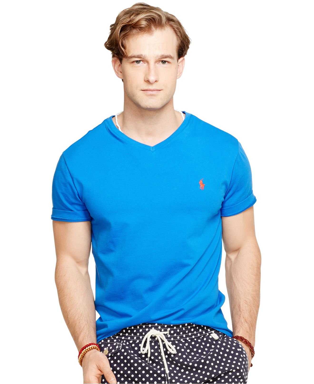 Polo Ralph Lauren V Neck T Shirt In Blue For Men Spa
