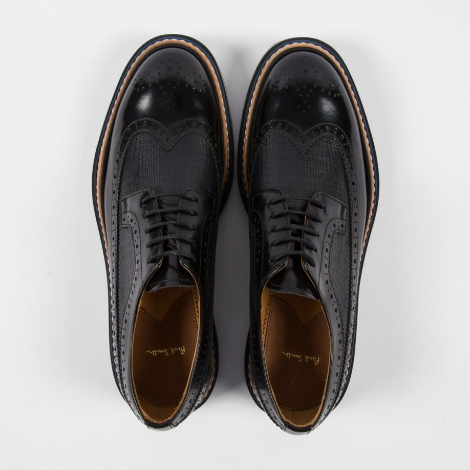 2cea28a43f Paul Smith Black Leather 'Grand' Brogues With Marbled Soles in Black ...