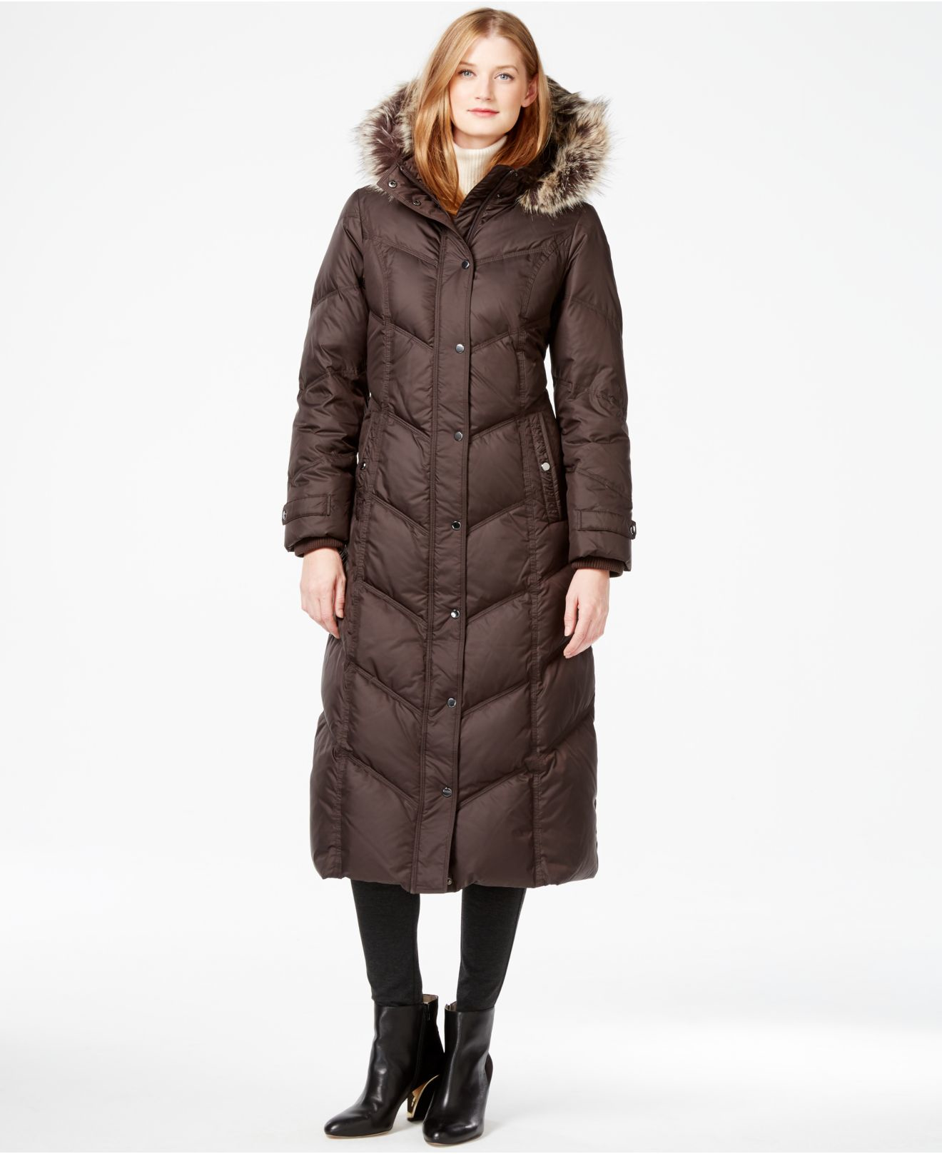 London fog Petite Faux-fur-trim Down Maxi Coat in Brown | Lyst