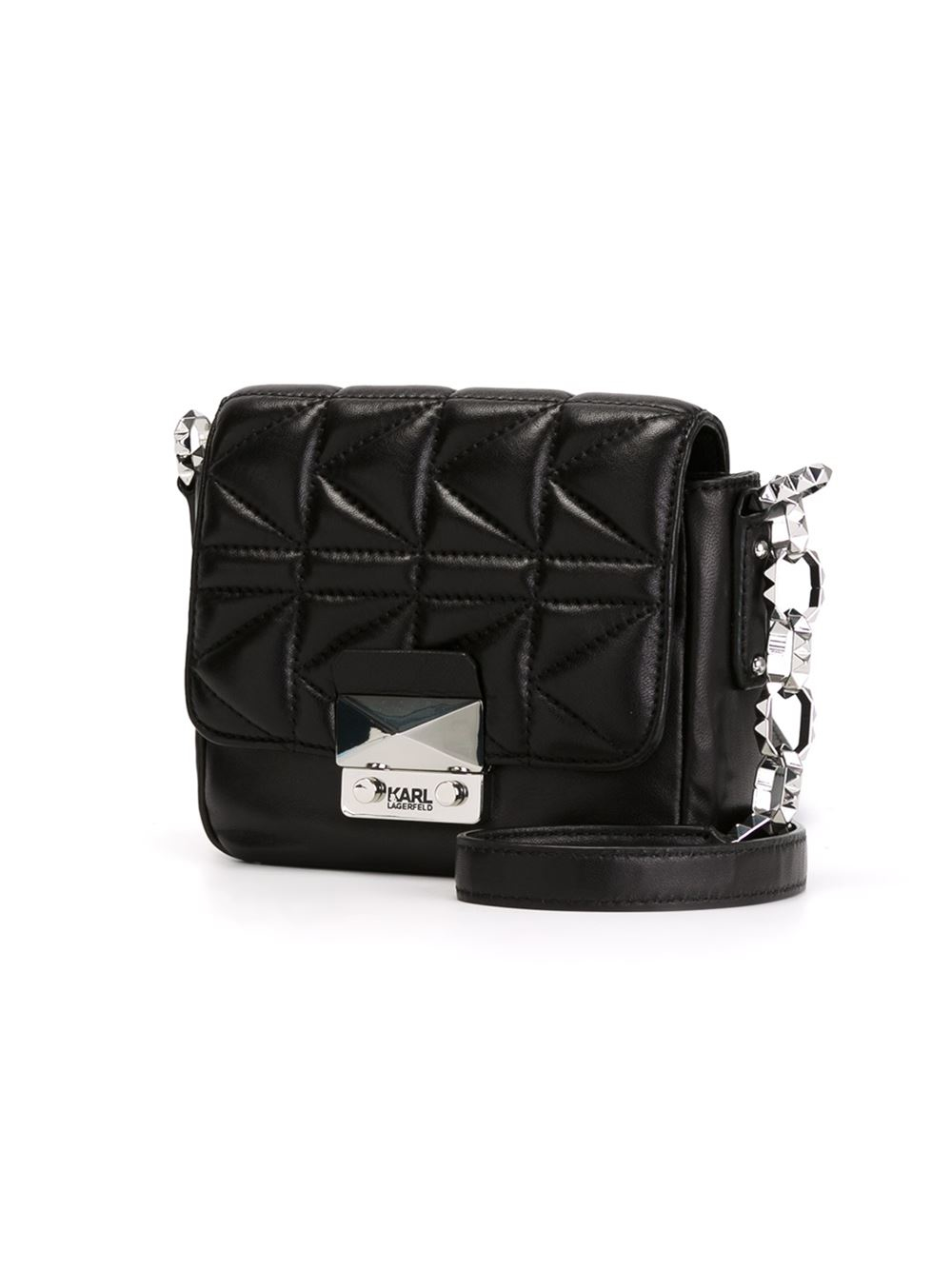 a64edc5ffe Karl Lagerfeld Small Quilted Crossbody Bag in Black - Lyst