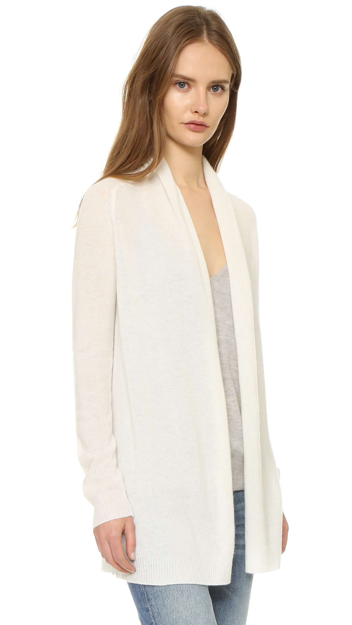 d8e68e2010c Theory Feather Ashtry Cashmere Cardigan in Natural - Lyst