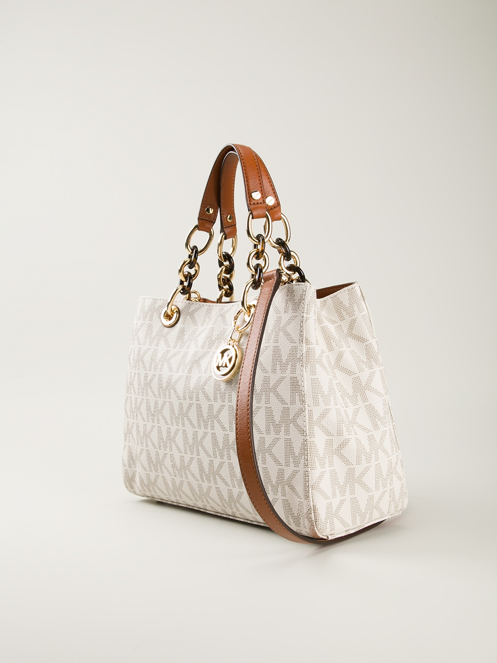 f168dc942185 ... bag Lyst - Michael Michael Kors Chain Strap Tote in White ...