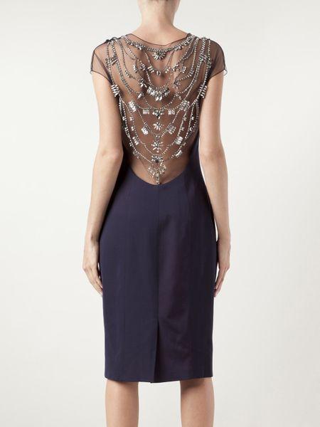 Lela Rose Crystal Embroidered Dress In Black Blue Lyst