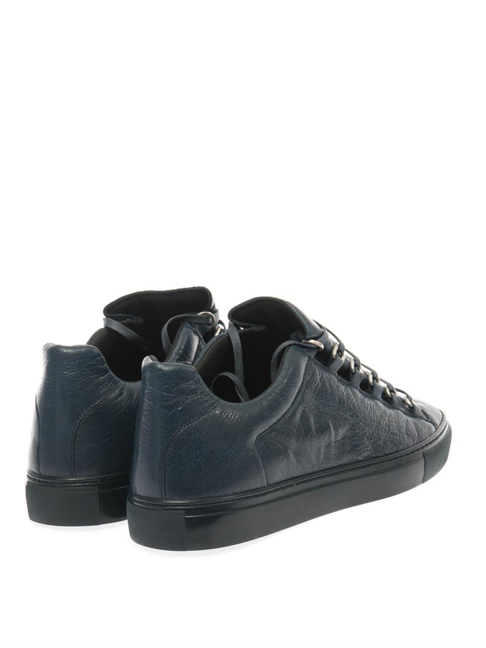 balenciaga arena low top leather trainers in blue for men lyst. Black Bedroom Furniture Sets. Home Design Ideas