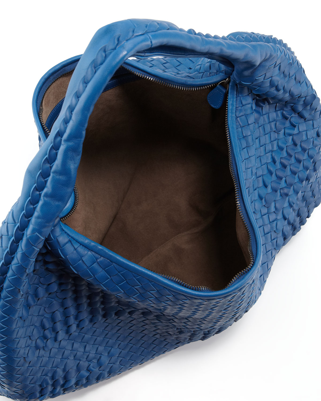 c6b3d6ede6 Lyst - Bottega Veneta Maxi Veneta Ruffle Hobo Bag Blue in Blue