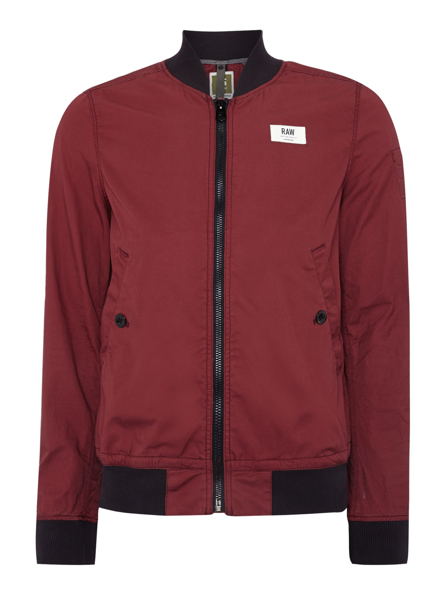 g star raw casual showerproof full zip bomber jacket in red for men cherry lyst. Black Bedroom Furniture Sets. Home Design Ideas