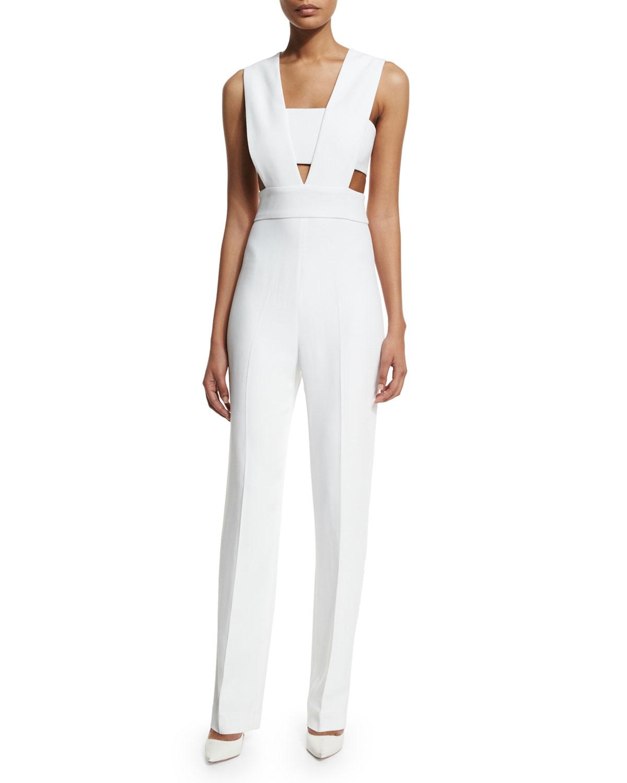 8385099fb6f2 Lyst - Cushnie et Ochs Cutout Straight-leg Stretch-crepe Jumpsuit in ...