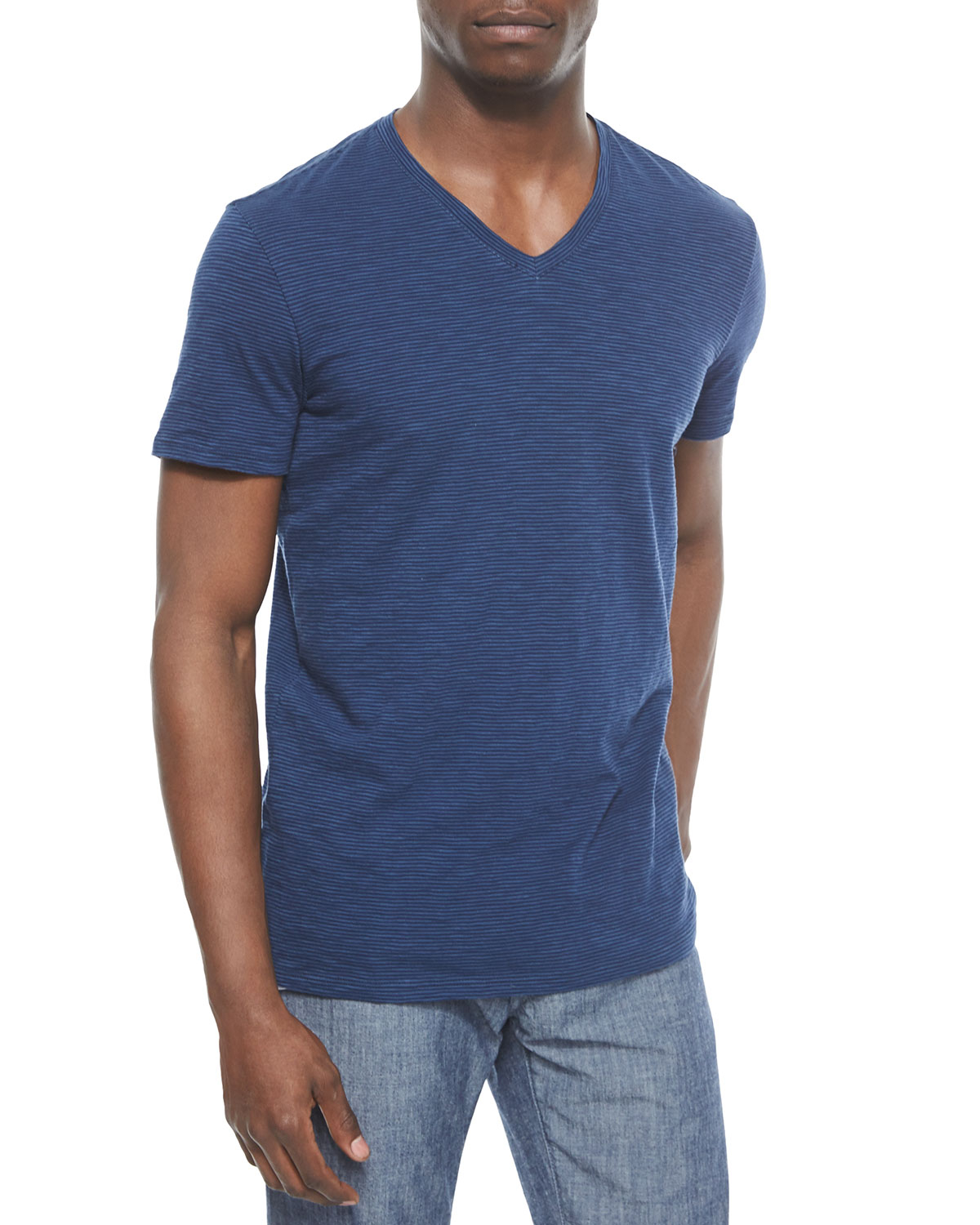Vince short sleeve feeder striped tee in blue for men lyst for Vince tee shirts sale