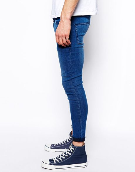 Asos Cropped Extreme Super Skinny Jeans in Blue for Men | Lyst