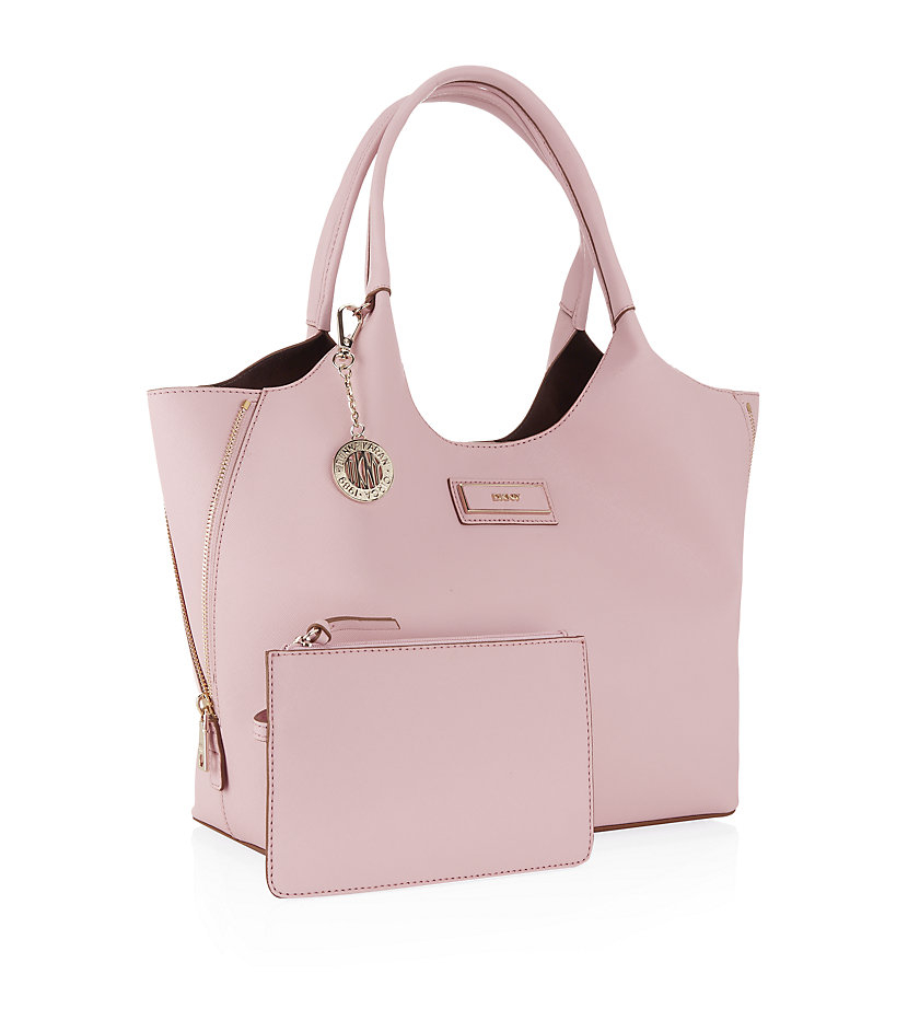 dkny saffiano tote bag in pink light pink lyst. Black Bedroom Furniture Sets. Home Design Ideas