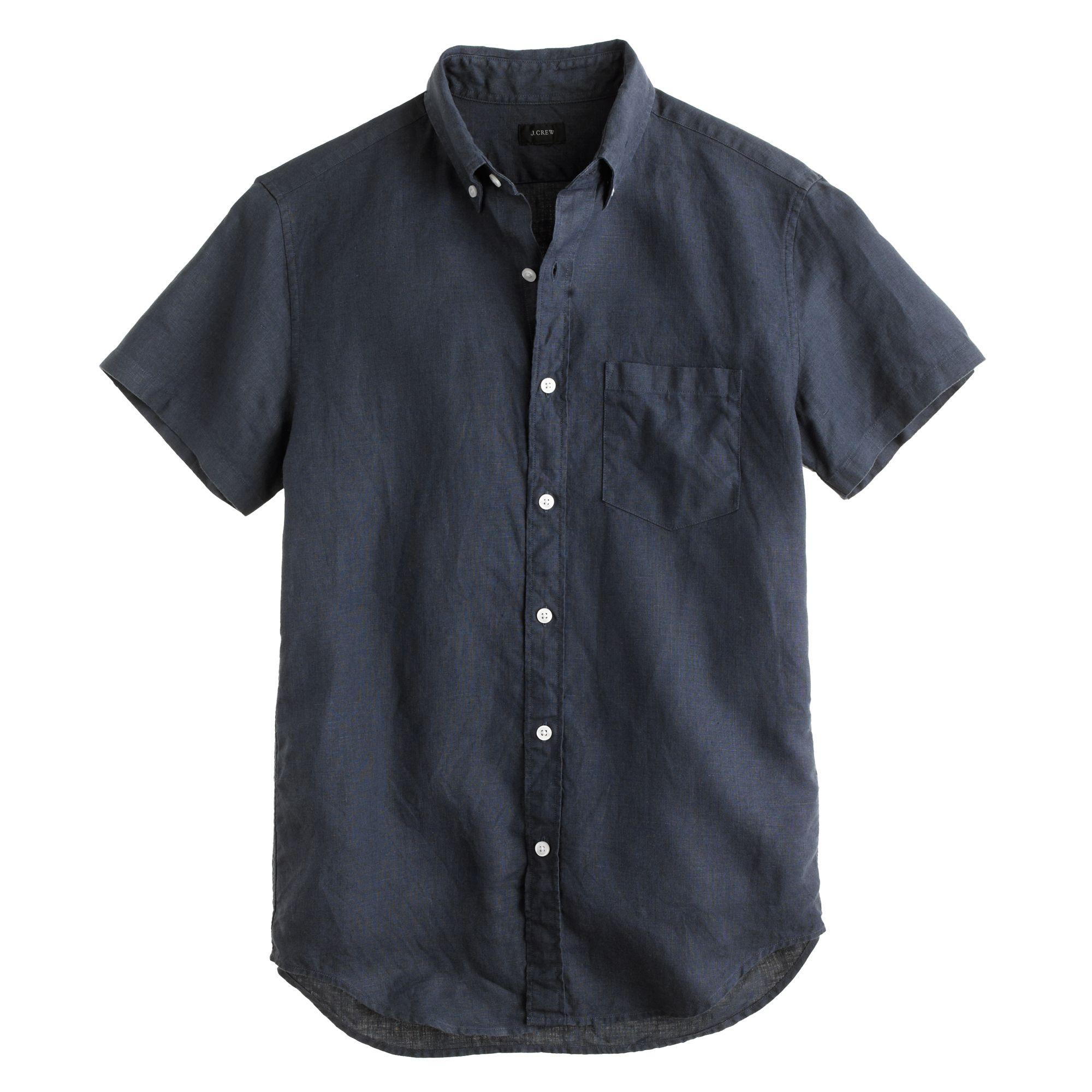 Short sleeve irish linen shirt in blue for men for Irish linen dress shirts