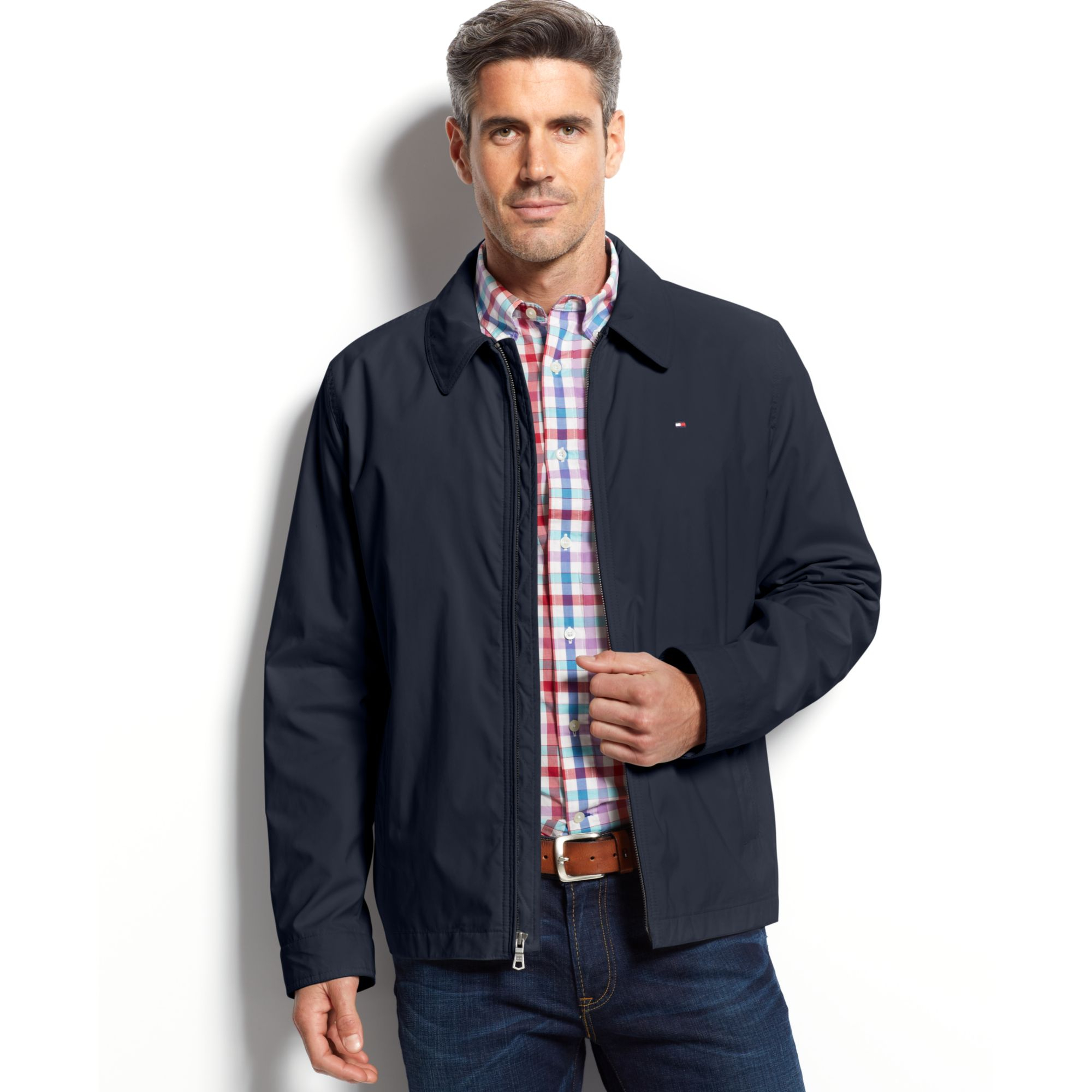 tommy hilfiger micro twill jacket in blue for men lyst. Black Bedroom Furniture Sets. Home Design Ideas