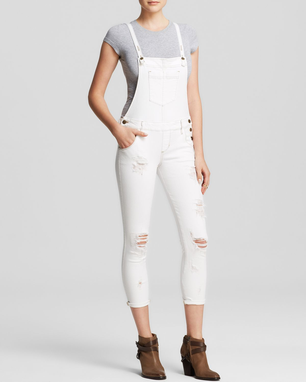 684881a6a0b4 Lyst - Guess Overalls - Carlie Slim In True White With Destroy in White