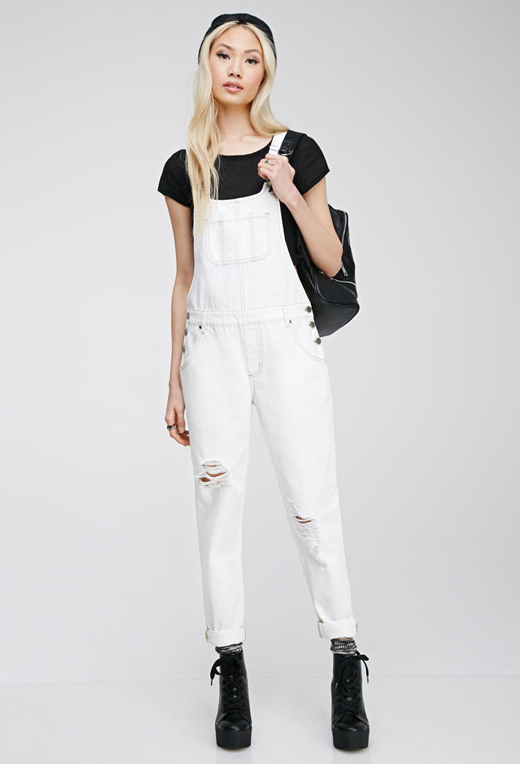 3b6d714fa78 Forever 21 Distressed Bib Overalls in White - Lyst