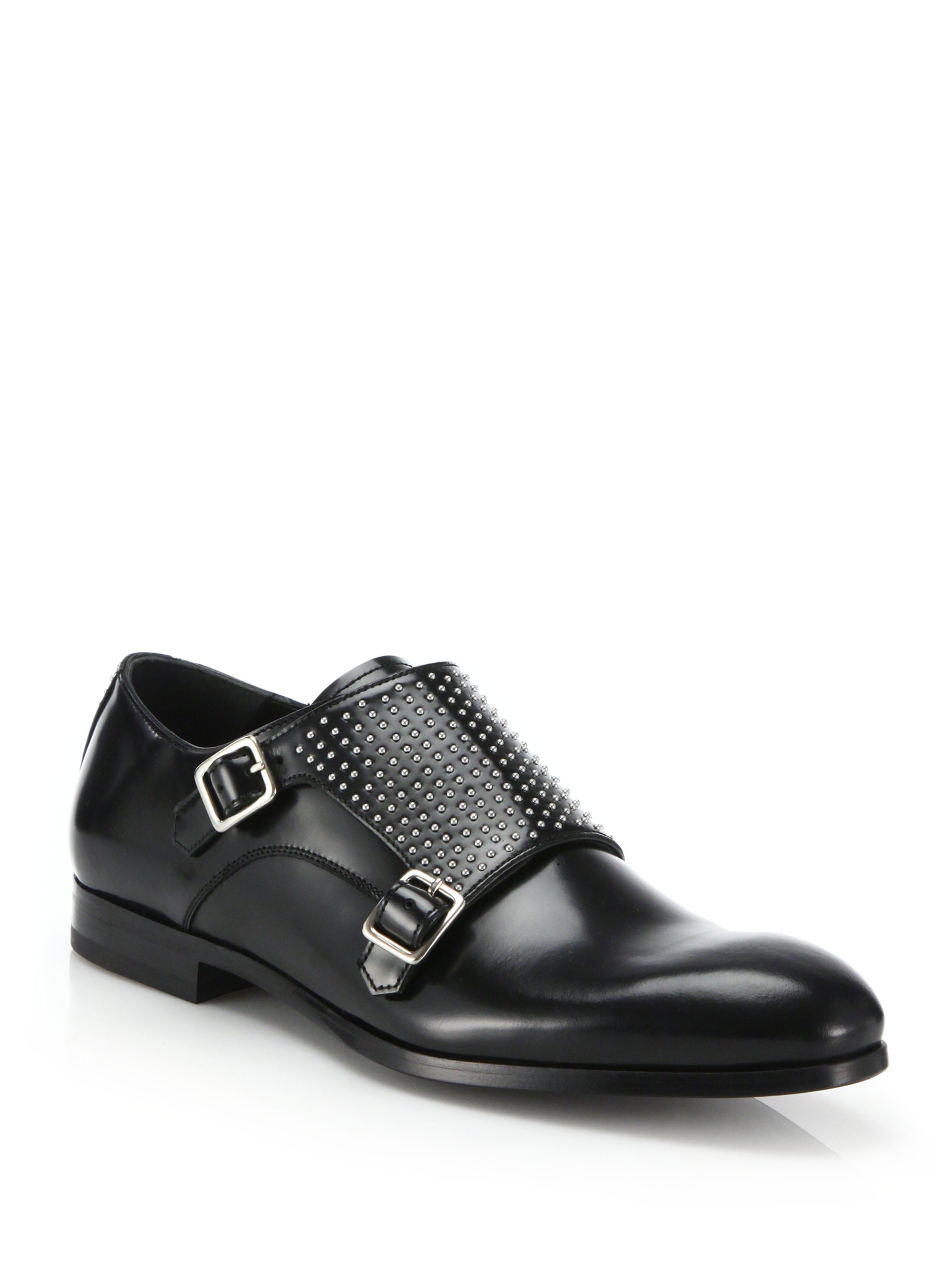 433bdd5ee0f70 Lyst - Alexander McQueen Studded Double Monk-strap Brogues in Black ...
