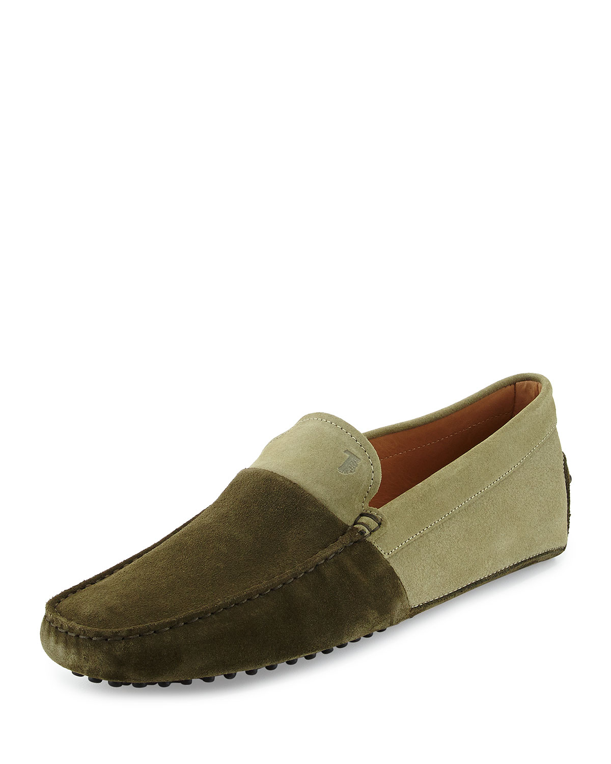 Tod's Suede Colorblock Driving Shoe in Green for Men | Lyst