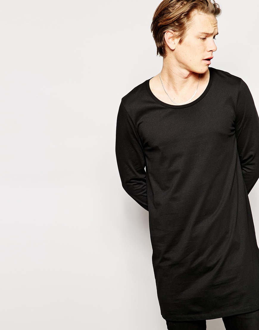 5337e1acc80a9 Lyst - ASOS Super Longline Long Sleeve T-shirt With Scoop Neck in ...