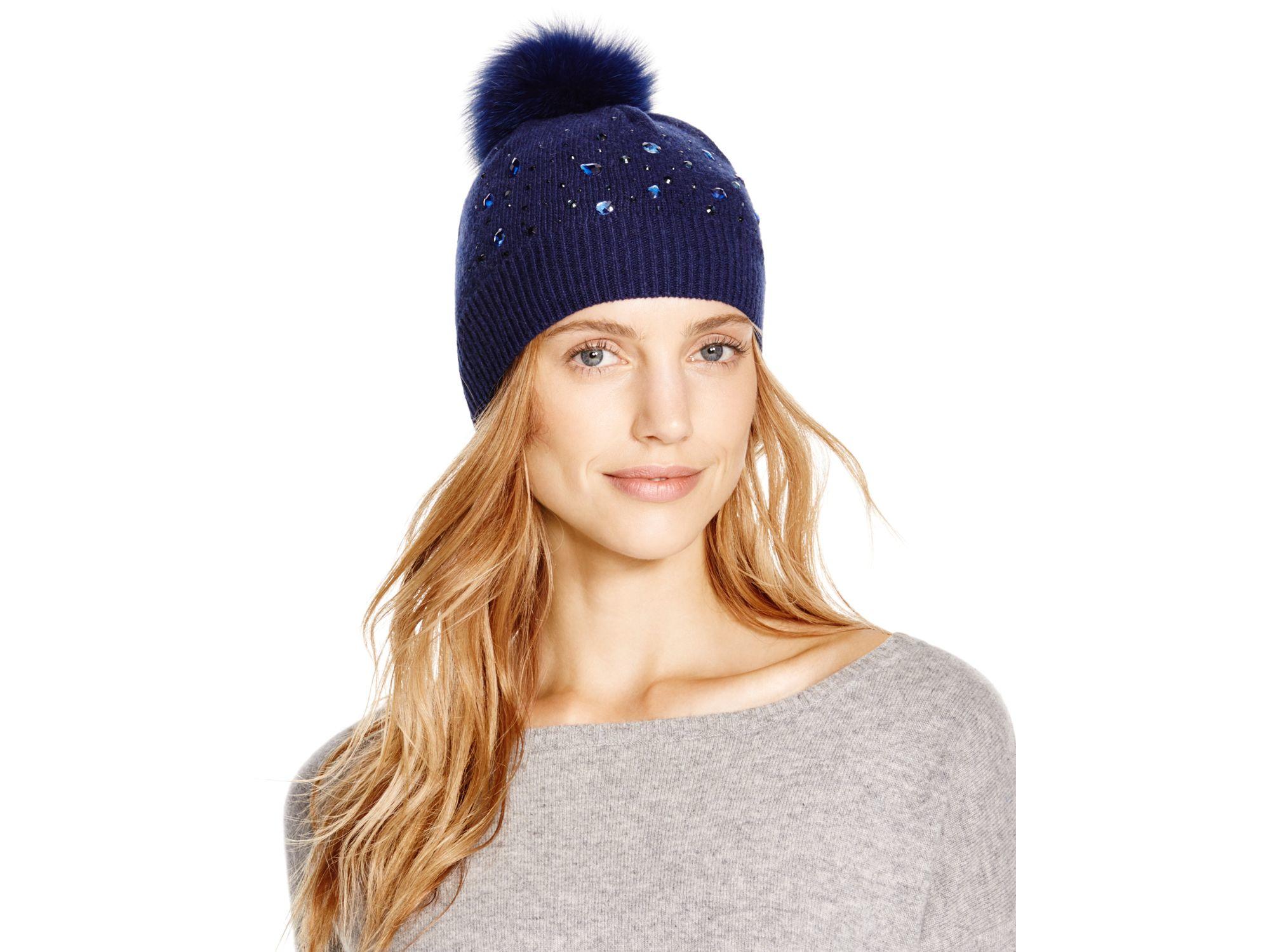 ee5594934b6 Lyst - Aqua Beaded Slouchy Hat With Fox Fur Pom-pom in Blue