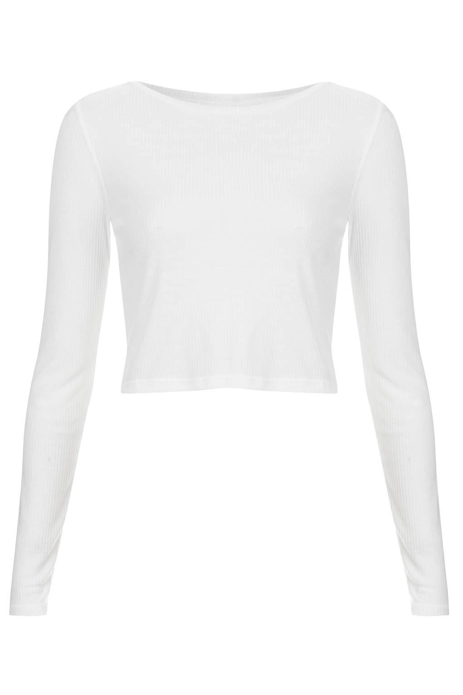 Topshop Long Sleeve Skinny Rib Crop Top in White | Lyst