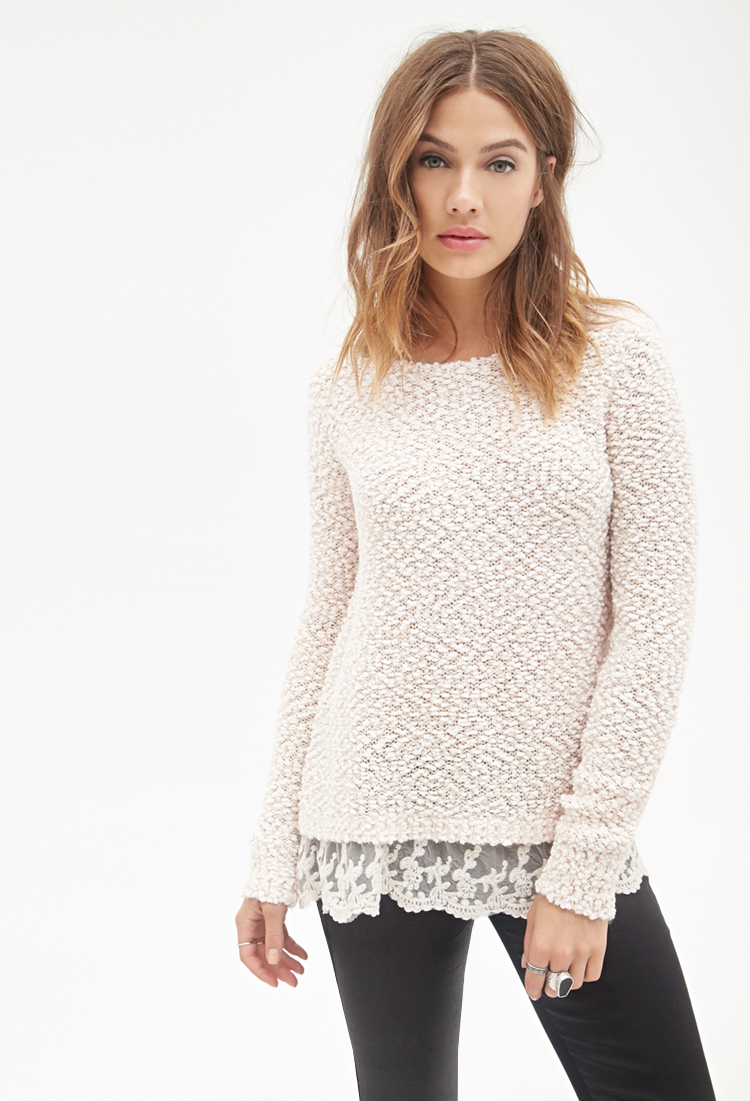 Forever 21 Lace Trim Knit Sweater in Pink | Lyst