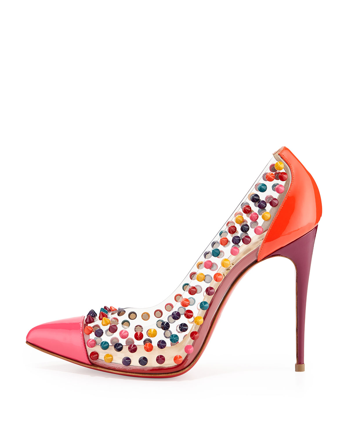 2eff36962c0b ... netherlands lyst christian louboutin spike me pvc cap toe red sole pump  in pink c9053 23e95