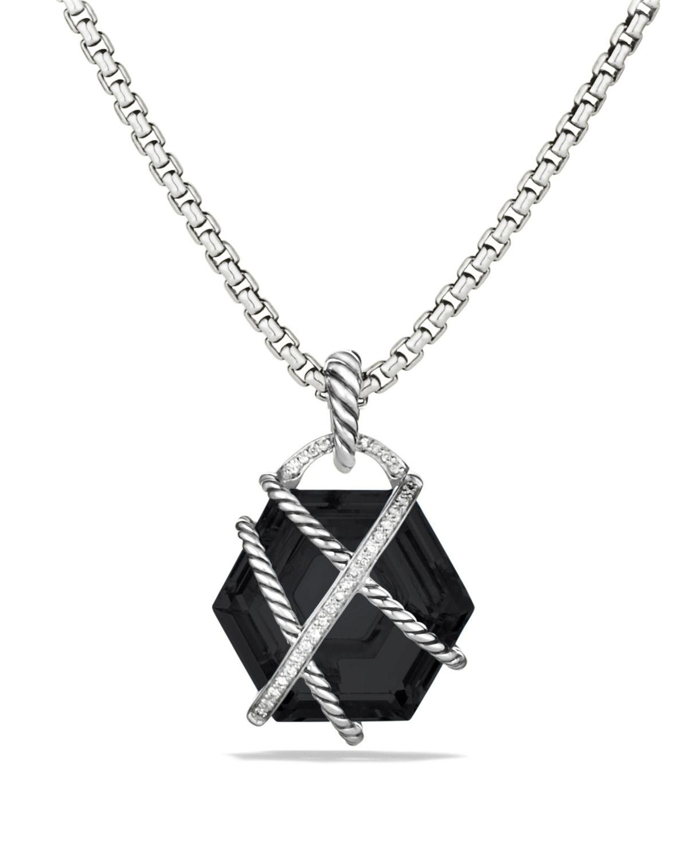 Lyst david yurman cable wrap pendant with black onyx and diamonds gallery aloadofball Gallery