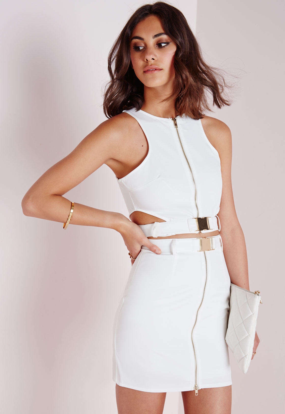e50dc352c6c Lyst - Missguided Buckle Cut Out Crop Top White in White
