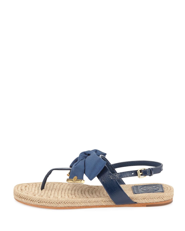 28cb53c564c7 Tory Burch. Women s Blue Penny Flat Bow Espadrille Thong Sandals Newport  Navy