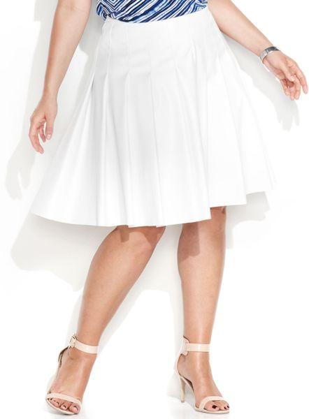 calvin klein plus size fauxleather pleated skirt in white