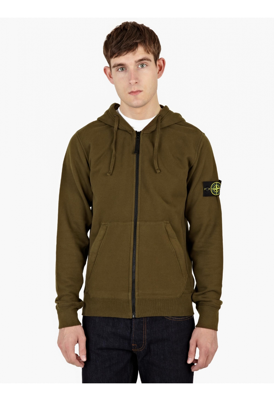 Stone island Khaki Hooded Cotton Sweatshirt in Green for Men - Lyst