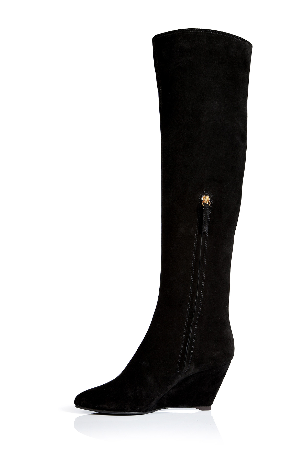 Giuseppe zanotti Suede Knee-high Wedge Boots in Black | Lyst
