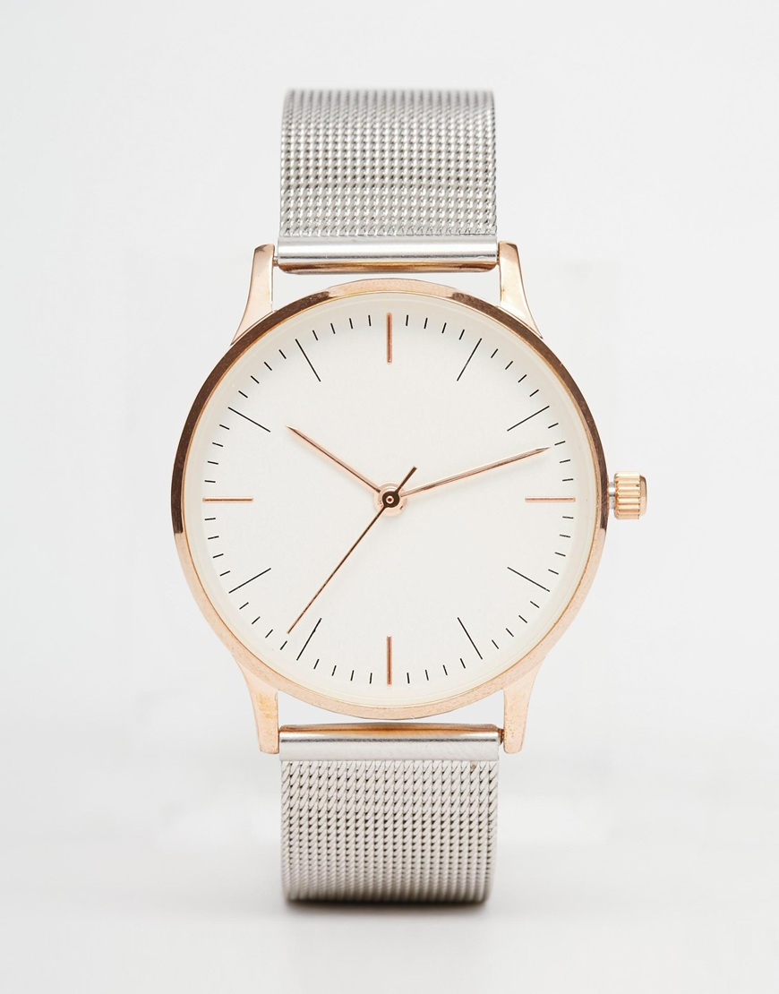 gallery watches metal mixedmetal lyst watch metallic product in normal accessories mesh mixed asos