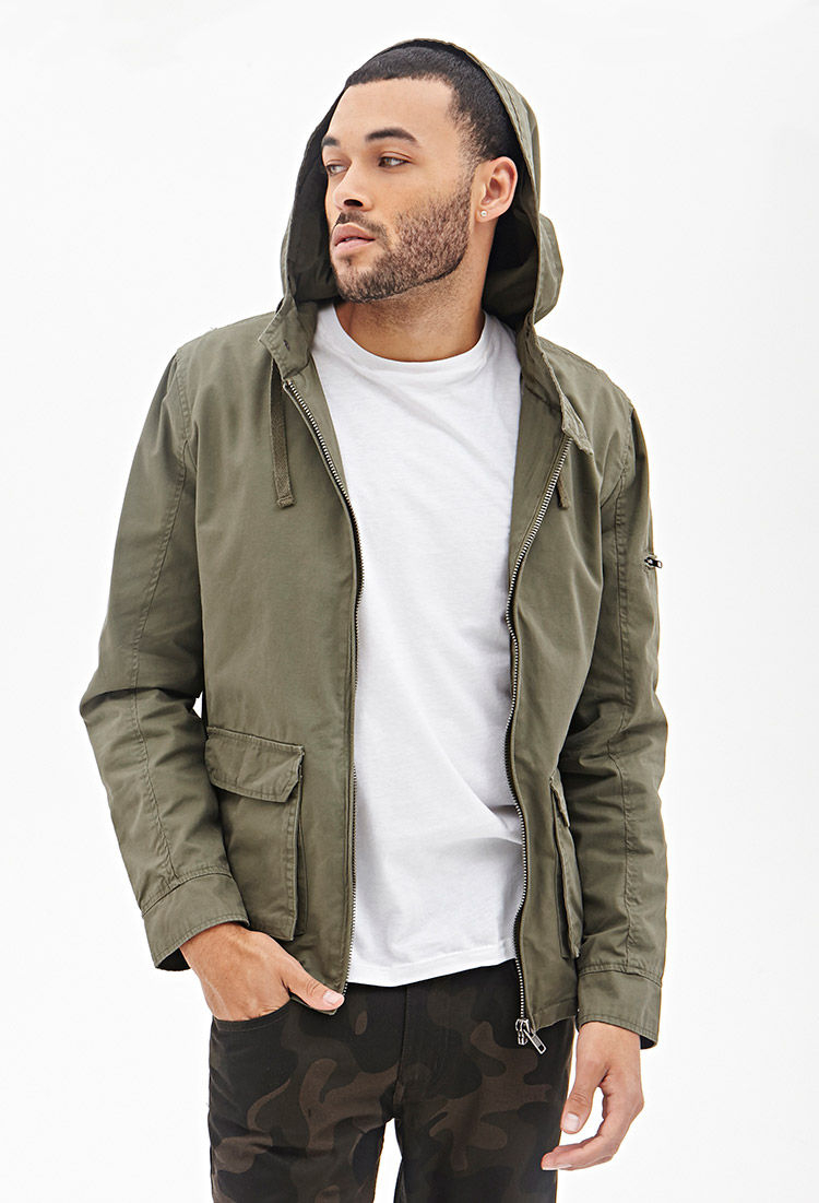 Forever 21 Hooded Twill Cargo Jacket in Green for Men | Lyst