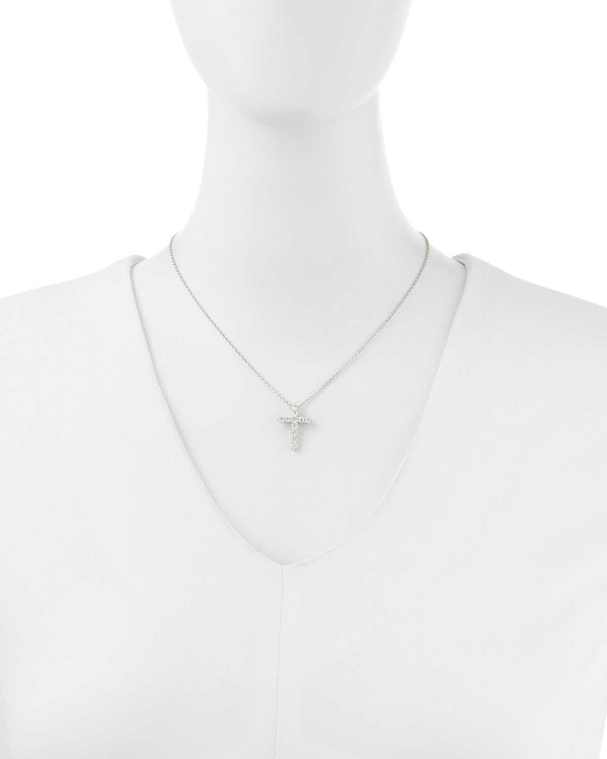 Lyst roberto coin diamond cross pendant necklace large in metallic gallery previously sold at neiman marcus womens diamond cross necklaces mozeypictures Choice Image