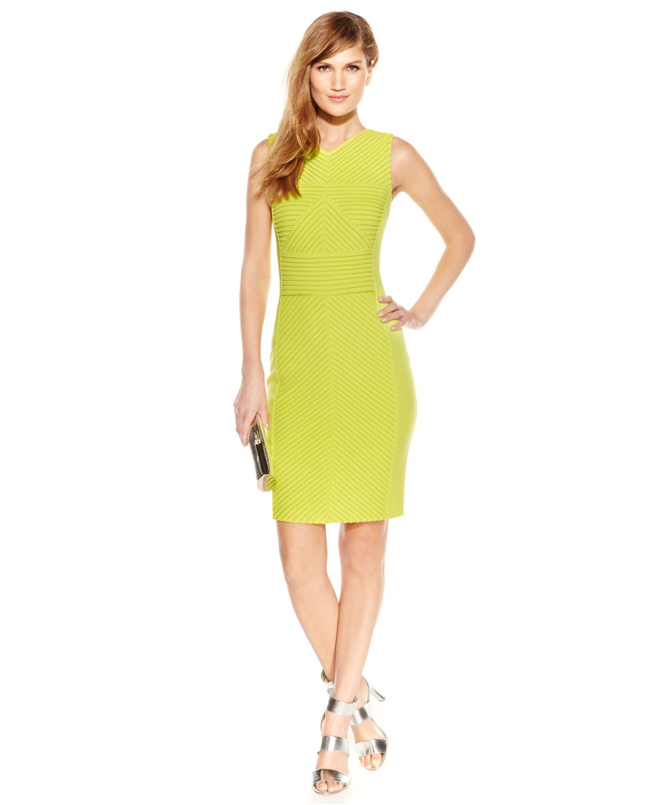 192244565f1 Calvin Klein Textured-stripe Sheath Dress in Yellow - Lyst