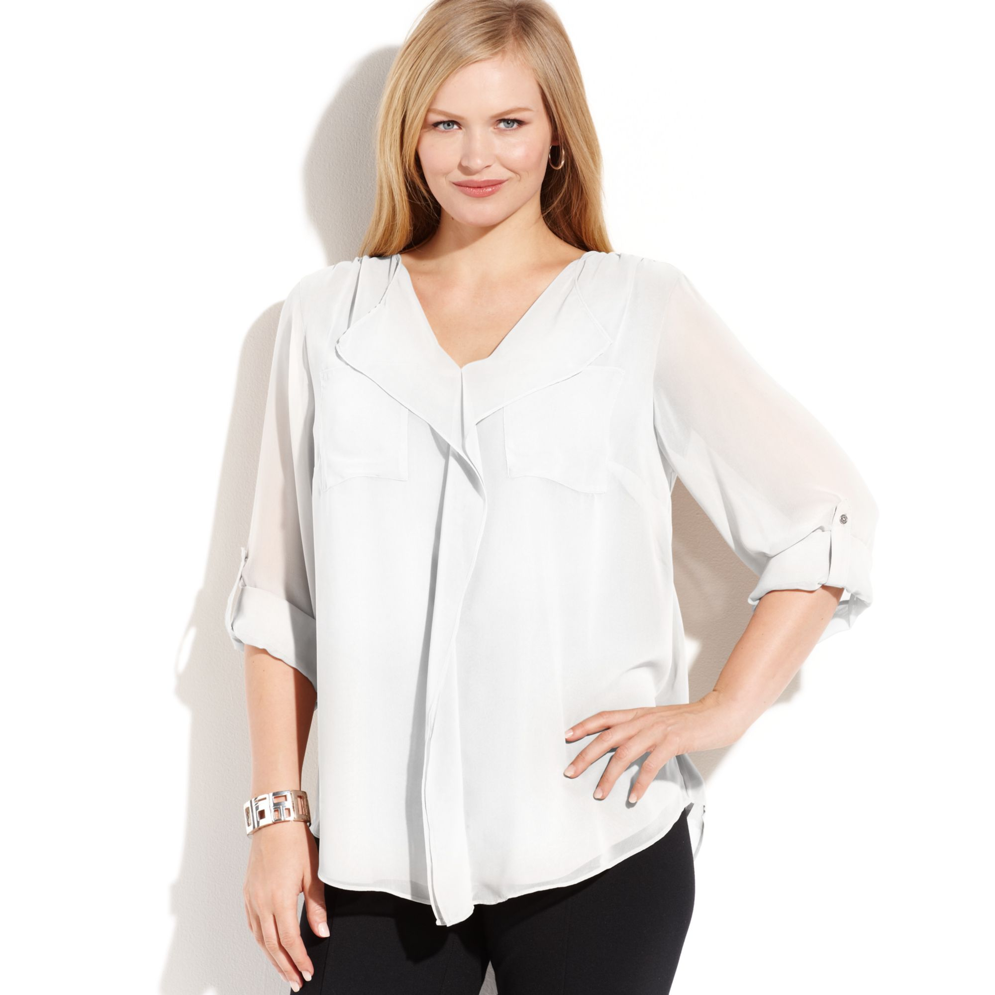 456a2f60fa5c7 Lyst - Calvin Klein Plus Size Long Sleeve Ruffled Blouse in White