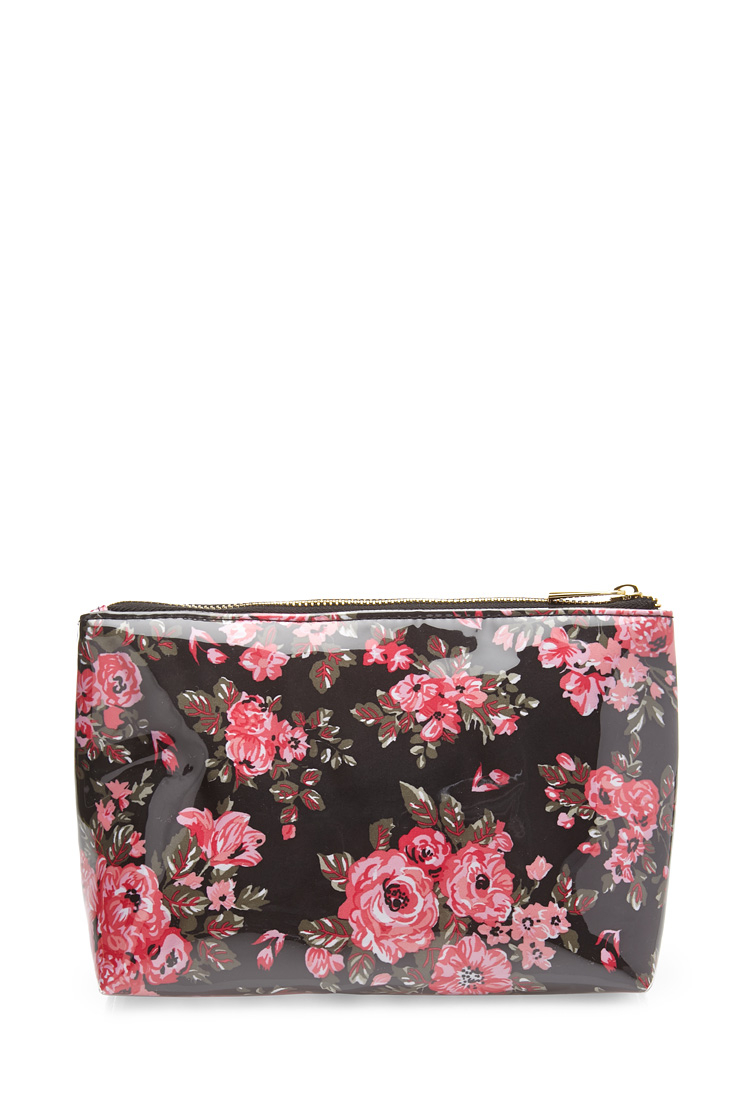 Lyst - Forever 21 Midsize Floral Cosmetic Bag In Pink