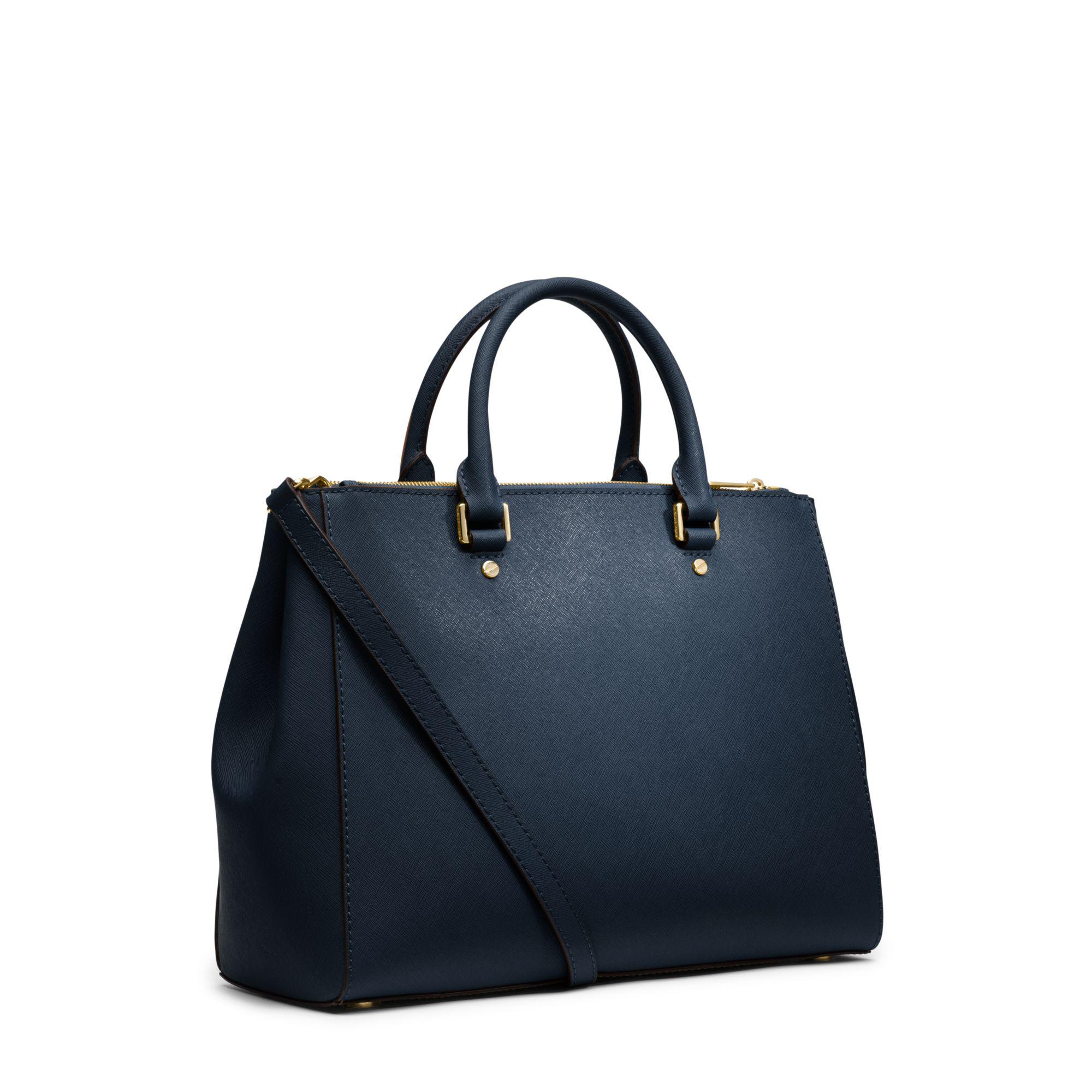Michael kors Sutton Saffiano Leather Large Satchel in Blue ...