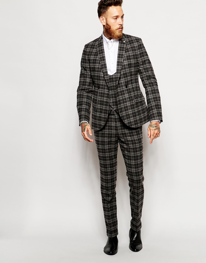 Noose and monkey Wool Check Suit Trousers In Skinny Fit in Black ...