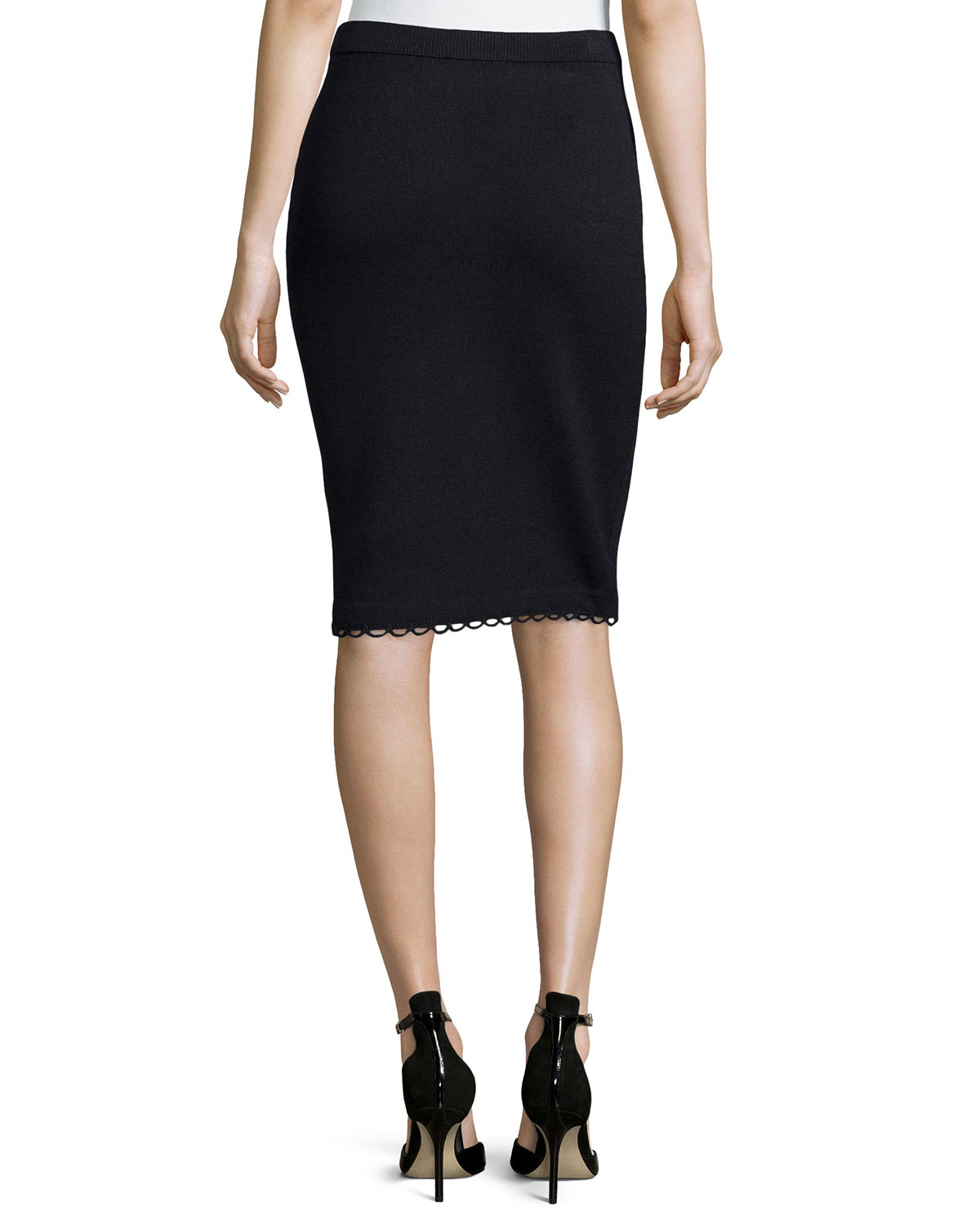 st pull on knit pencil skirt with loop trim in black