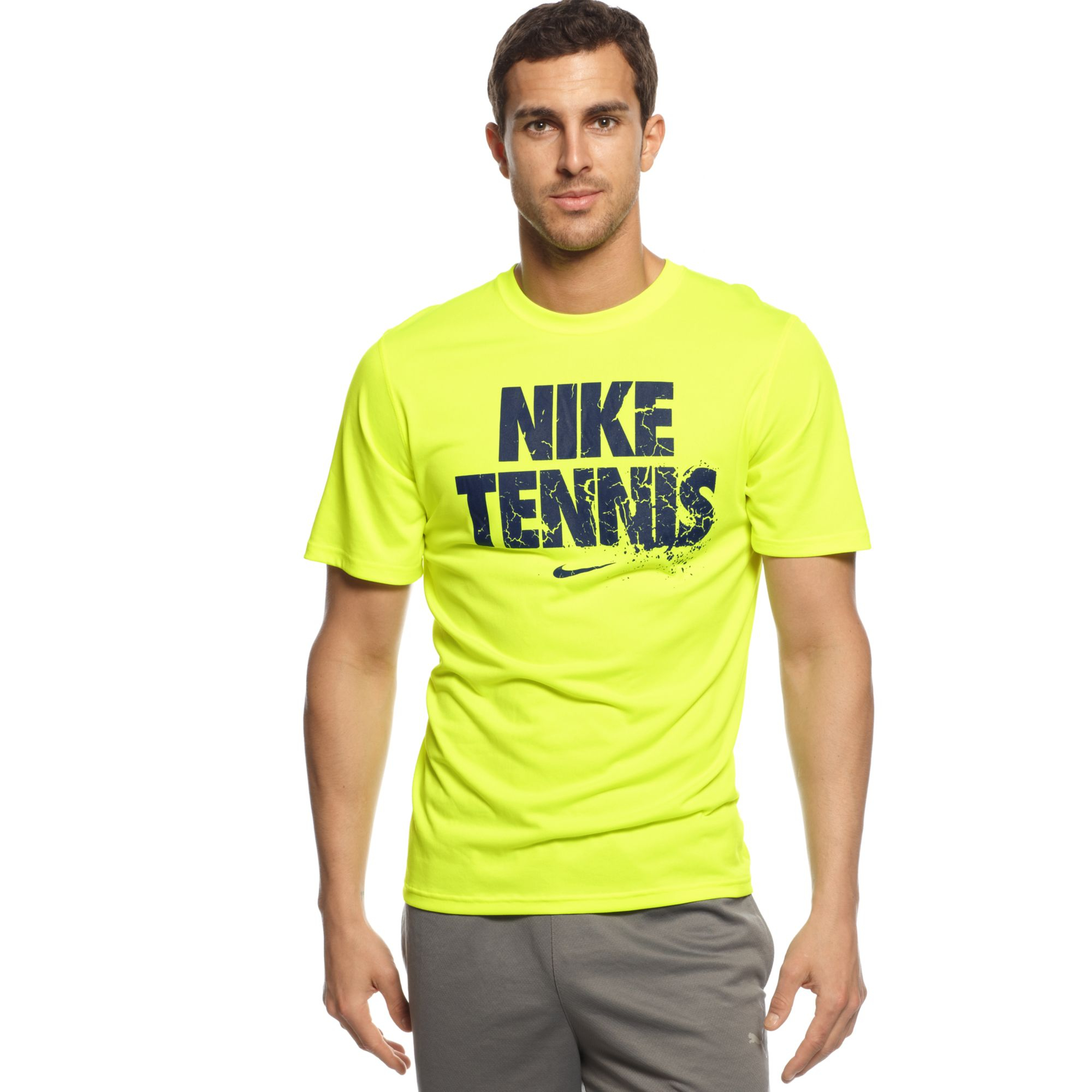 nike tennis read tshirt in yellow for men lyst. Black Bedroom Furniture Sets. Home Design Ideas