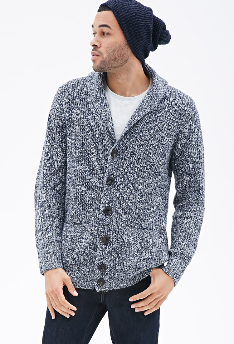Forever 21 Marled Shawl Collar Elbow Patch Cardigan in Blue for ...