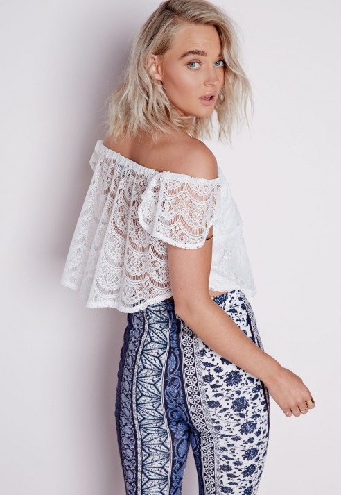 d36df01055ef74 Lyst - Missguided Bardot Lace Top White in White