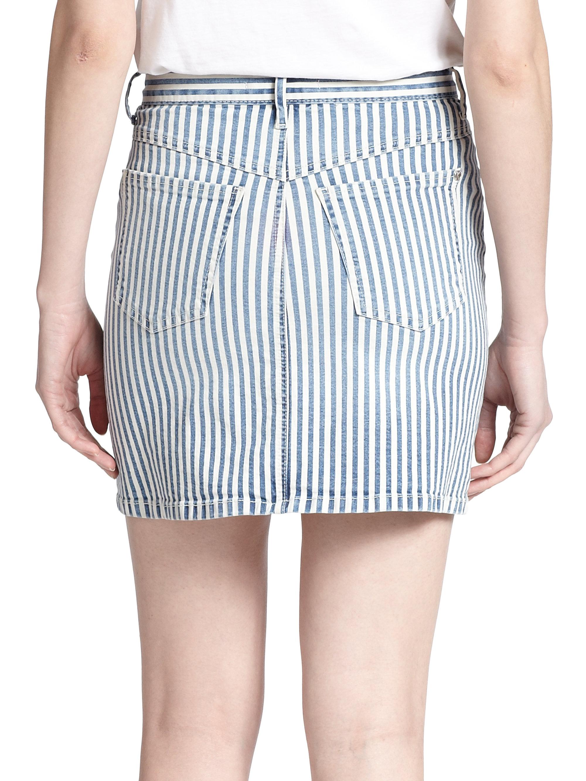 Koral Bari Striped Denim Mini Skirt in Blue | Lyst