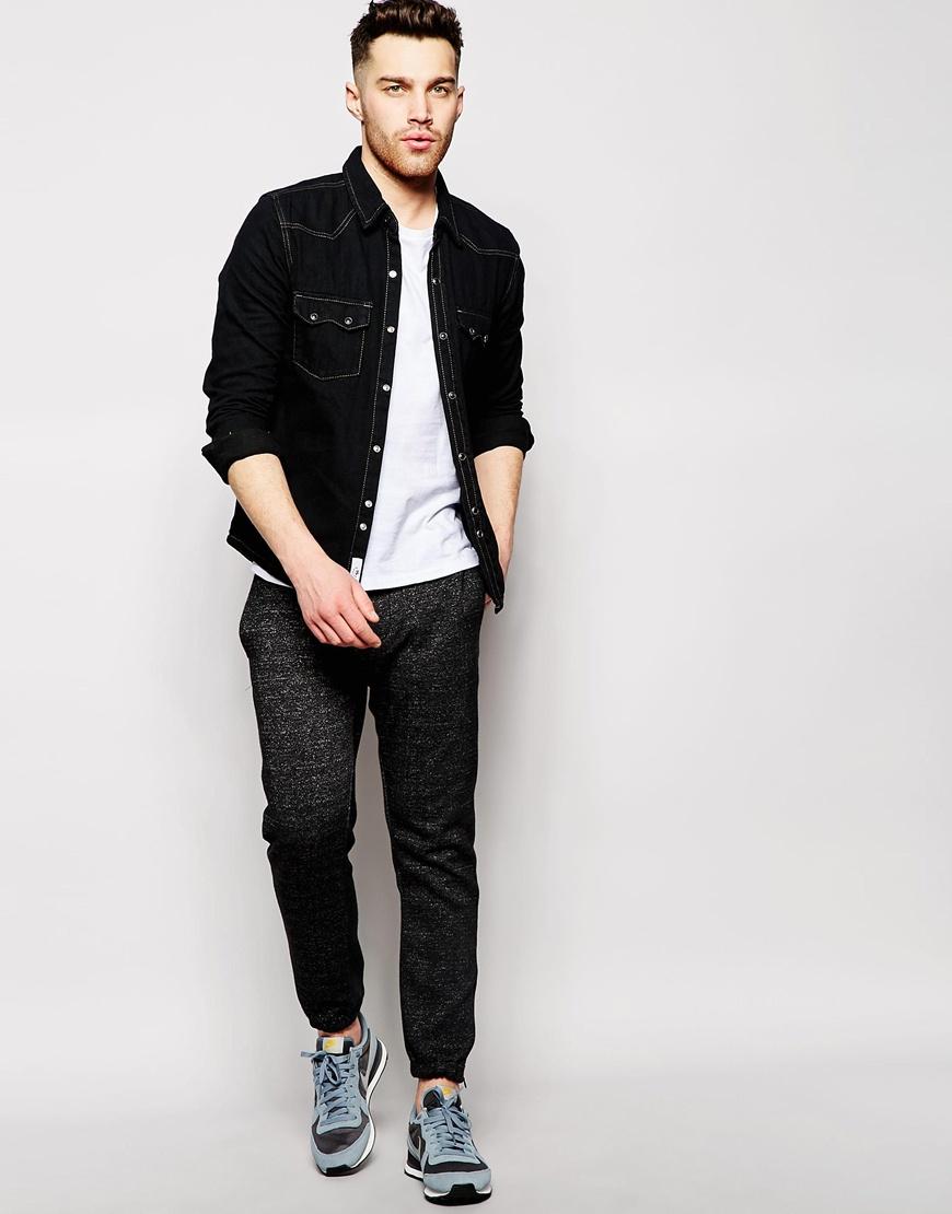 Lyst - Bellfield Denim Shirt Dark in Black for Men