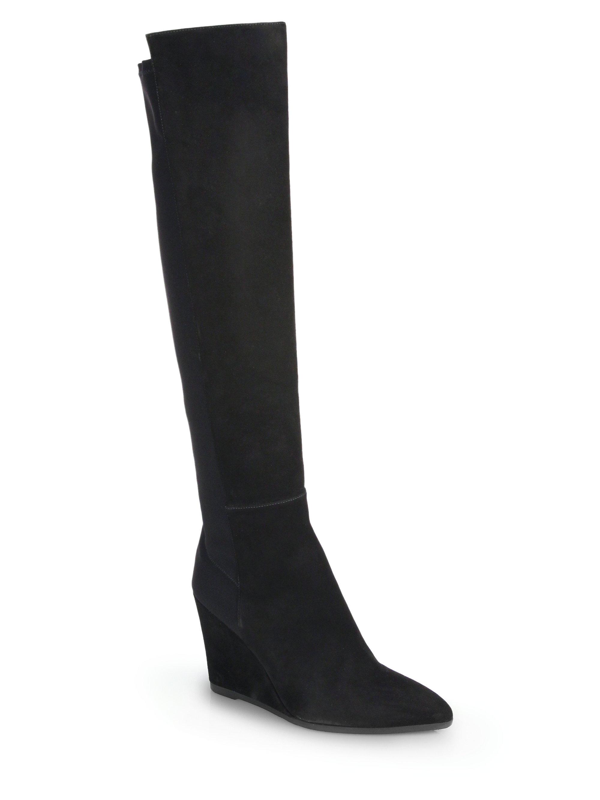 stuart weitzman demivoom suede knee high wedge boots in