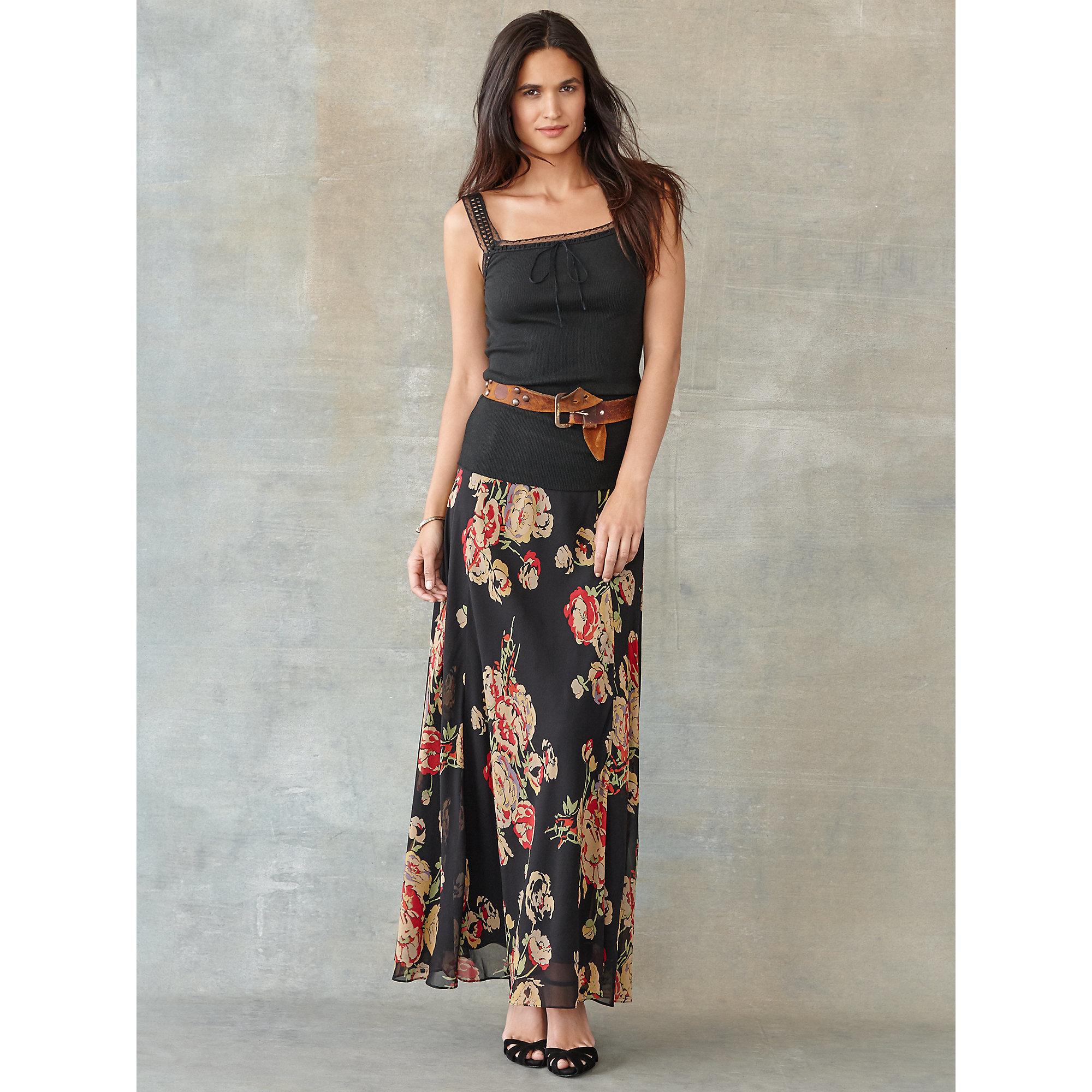 Rrl Becket Floral Silk Maxiskirt in Black | Lyst