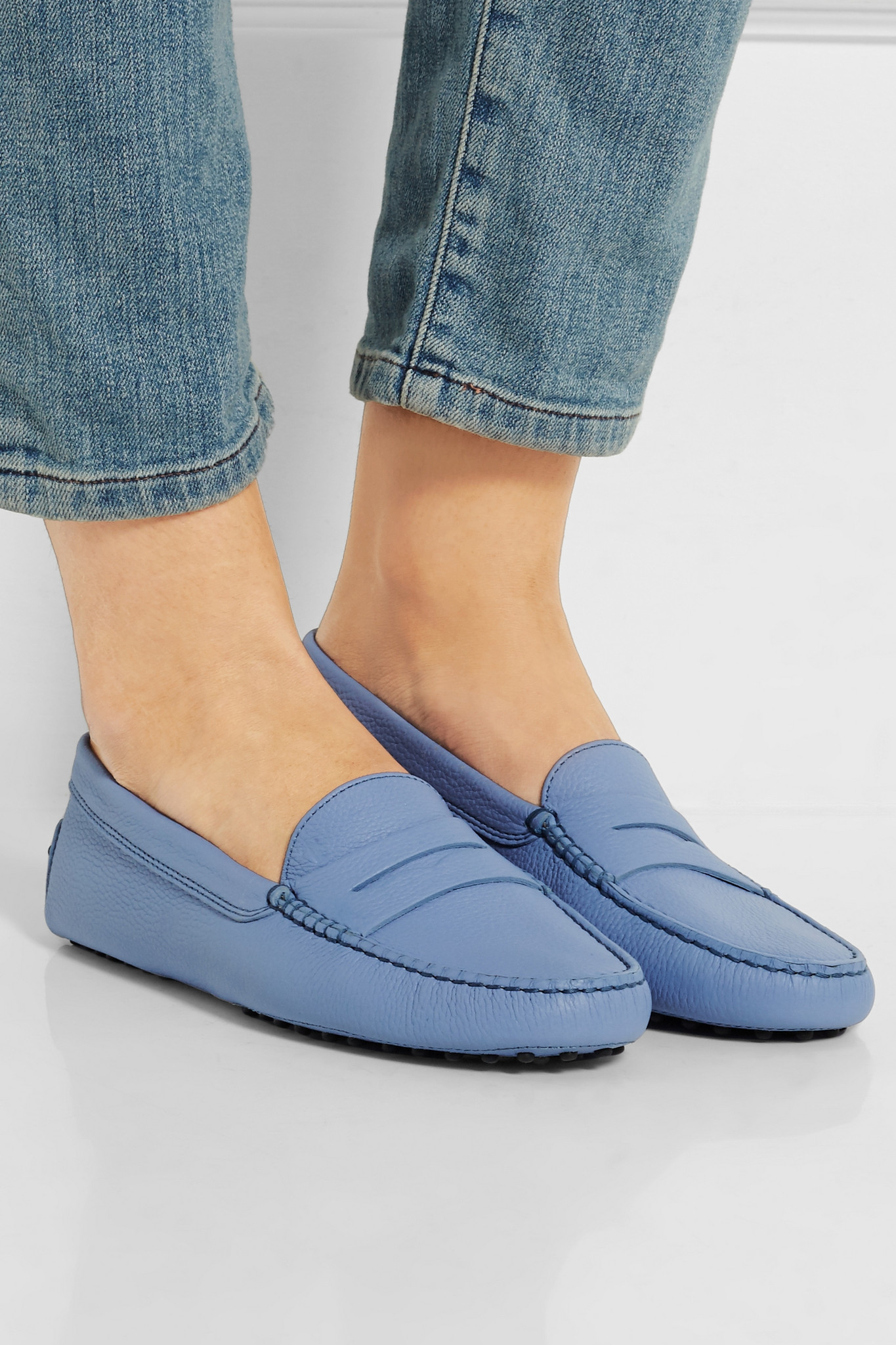 6b93b1b7279 Lyst - Tod s Gommino Textured-leather Loafers in Blue